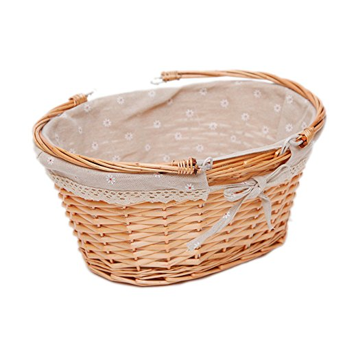 Linen Oval Drop - Oypeip TM Medium Wicker Basket Oval Woven Willow Basket with Double Drop Down Handles and Removable Linen Lining Gift Picnic Basket (Nature)