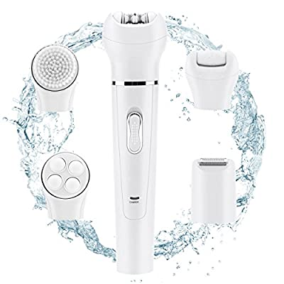 Best Cheap Deal for Happon 5 in 1 Electric Hair Removal Epilator, Lady Shaver and Foot Callus Remover, Face Cleaning Brush, Facial Skin Care Massager, Rechargable and Cordless, Wet/Dry Safe, Best Gift by Happon - Free 2 Day Shipping Available