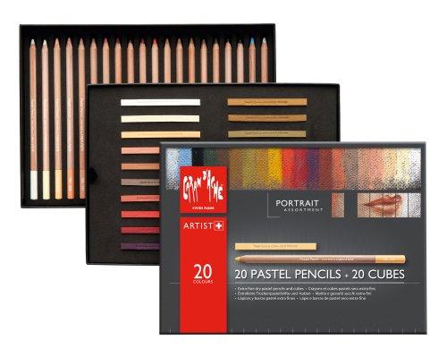 Caran D'ache 7880.520 Pastel Portrait Assortment 20 Pencils and 20 Cubes by Caran d'Ache