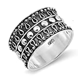 CloseoutWarehouse Sterling Silver Beaded Bali Design Ring Size 10