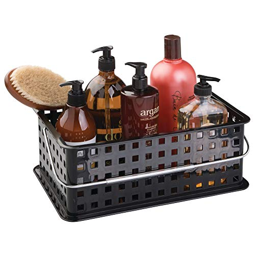 Interdesign Chrome Basket - InterDesign Storage Organizer Basket, with Handle for Bathroom, Health and Beauty Products - Medium, Black