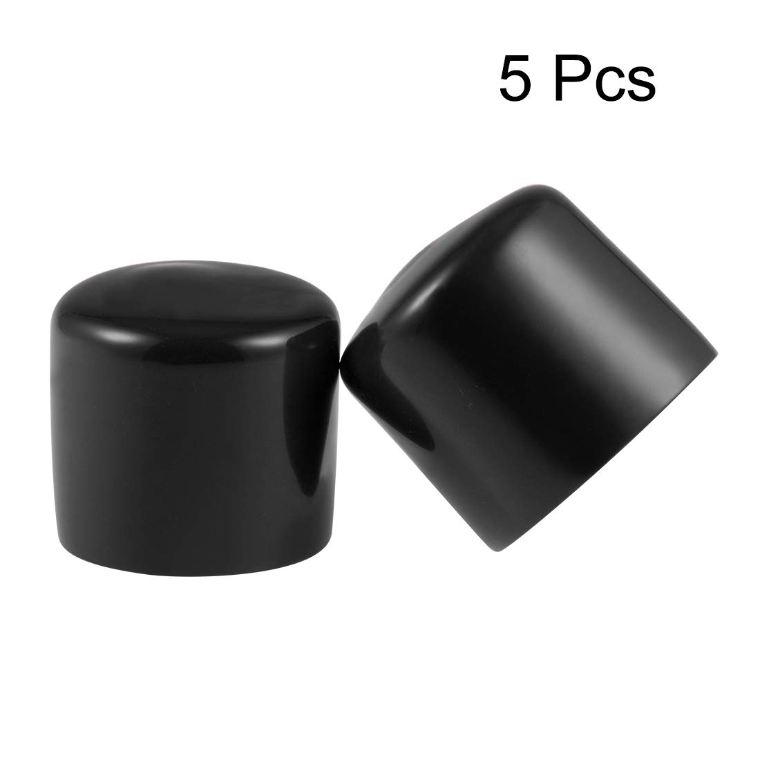 sourcing map Rubber End Caps 27mm ID Round End Cap Cover Black Screw Thread Protectors 5pcs