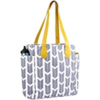 Tote bag with arrow print. This top handle shoulder handbag is Perfect for all. Sale Today! (gray)