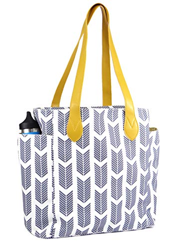 (Tote bag with arrow print. This top handle shoulder handbag is Perfect for work, school, travel or business. Sale Today! (gray) )
