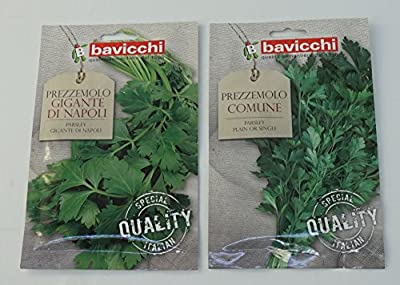 "Bavicchi: Prezzemolo Set: ""Gigante di Napoli "" And "" Prezzemolo Comune"" Parsley Seeds 18g Each [ Italian Import ]"