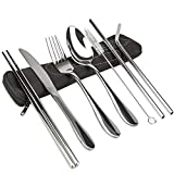 7psc Reusable Flatware Set, Healthy & Eco-Friendly Lunch Cutlery Heavy Duty Stainless Steel Straws with Brush, Strong and Durable, Portable Neoprene Case for Travel Camping Hiking Outdoor (Black)