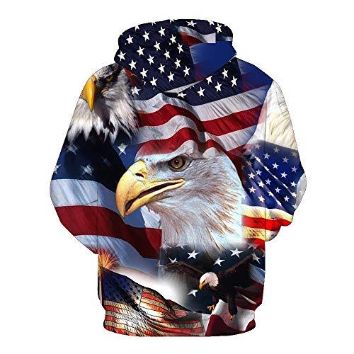 ★QueenBB★ Men Women 3D American Flag Printed Plus Drawstring Hooded Sweatshirt Casual Pullover Hoodie Big Pockets