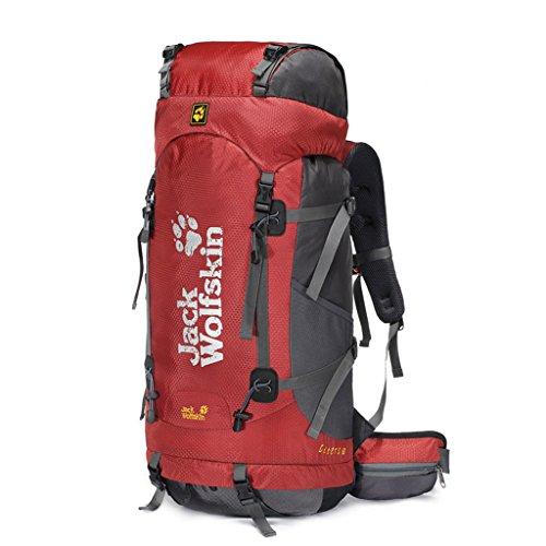 Outdoor-Klettern Tasche Wanderrucksack Camping Rucksack Sport wasserdichter Rucksack rot 60L xkv6jcp