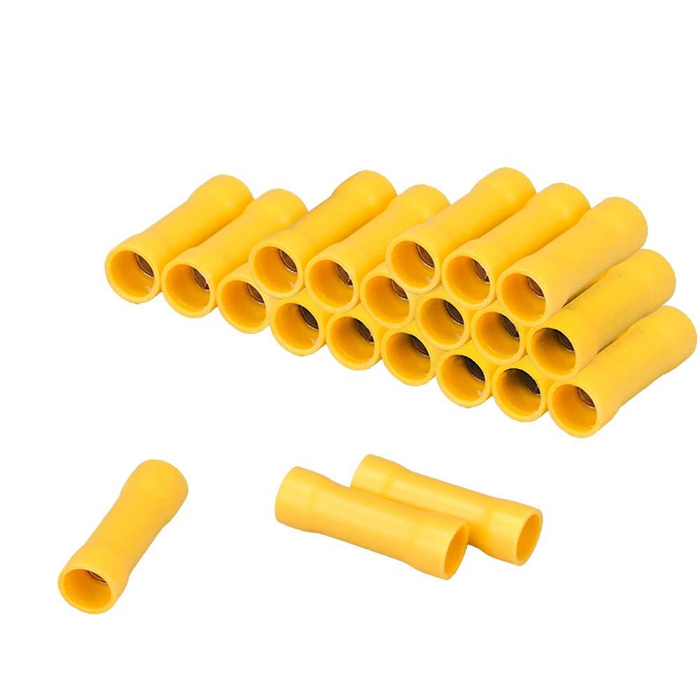 HUICAO 12-10 Gauge Butt Splice Connectors, 100 Pcs Vinyl Insulated Butt Splice Wire Crimp Connectors Terminals – Yellow