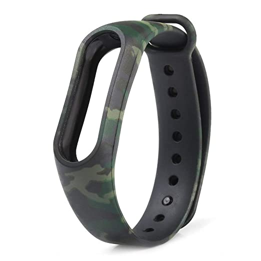 SeCro Camouflage Replacement Band Strap for Xiaomi Mi Band 2 | Xiaomi MI Band HRX Edition (Device Not Included) (Army Green)