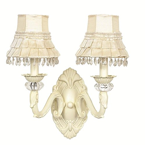 30003-2002 2 Arm Skirt Dangle Ivory Chandelier Shade on Wall sconce with Ivory Turret ()