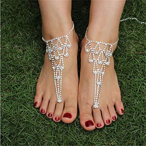 WEILYDF Sandals Anklet Women Summer Luxury Classic Crystal Anklet Bracelet Link Finger Beach Anklet Bridal Jewelry