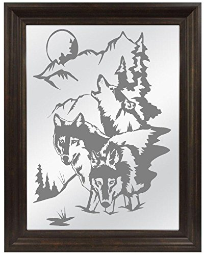Wolves Wolf Mountains Sandblasted Mirror, Personalized Bar Mirror, Custom Personalized Mirror, Etched Bar Mirror, Custom Bar Mirror, Large Mirror