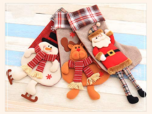 SUNSHINE-LH Children's Christmas Stocking, Set of 3 Santa Claus, Snowman, Reindeer, Cute Santa's Toys Stockings Christmas Decorations and Party Accessory (Santa Claus, 55x27cm)