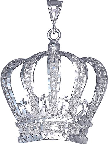 Sterling Silver Crown Charm Pendant Necklace Diamond Cut Finish with Chain (Without Chain) by eJewelryPlus
