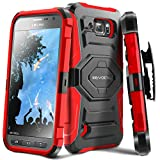 Evocel® Galaxy S6 Active Case - Dual Layer [New Generation] Rugged Holster Case with Kickstand and Belt Swivel Clip For Samsung Galaxy S6 Active G890 (2015 Release) - Retail Packaging, Red