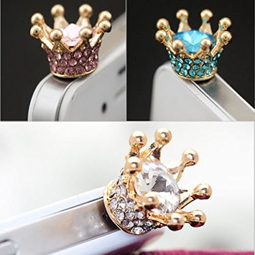 3pcs Dust Caps for Phone, Rhinestone Crown Earphone Jack Accessories Dust Plug Lovely Decor for Iphone 6s 6 Ipad Samsung Galaxy s7 s6 note5 Other Cellphone 3.5mm Ear - Charms Cell Crown Phone