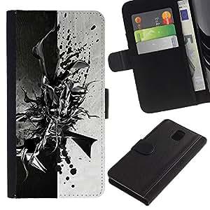 KLONGSHOP // Tirón de la caja Cartera de cuero con ranuras para tarjetas - Negro abstracto en blanco y - Samsung Galaxy Note 3 III //