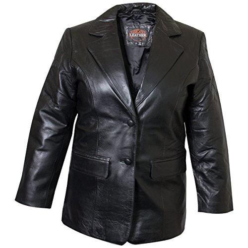 Ladies Lucky Leather 318 Lamb Skin Leather Blazer with Two Button Closure and F - Large Ladies Lambskin Leather Coat