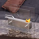 BeUniqueToday Portable Tabletop Fireplace Ventless Bio Ethanol Garden Fire Stainless Steel Tempered Glass Heavy Stainless Steel Linear Burner