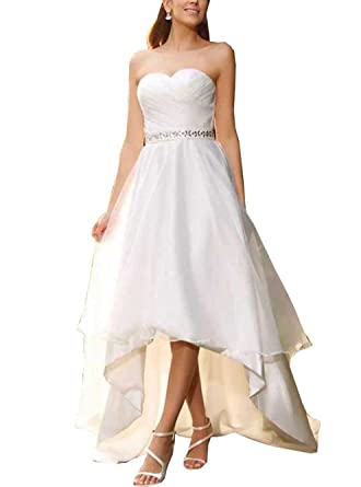 090041f138 QiJunGe Women's Short Wedding Dresses Sweetheart High Low Beach Bride Gowns  Ivory