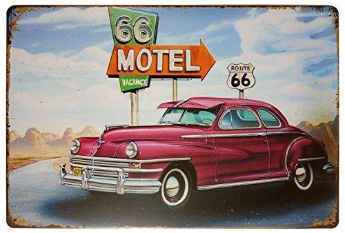 (Motel 66 Route 66 Vacancy Retro Vintage Decor Metal Tin Sign 12 X 8 Inches)