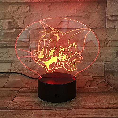 Cartoon Animation Mouse 3D Light Vision USB Lampara Led Desk Lamp 7 Colors Change Sleep Night Light 3D-729 3D Night Light, 3D Lamps 7 Color Change Visual Gift for Kids Home Decor