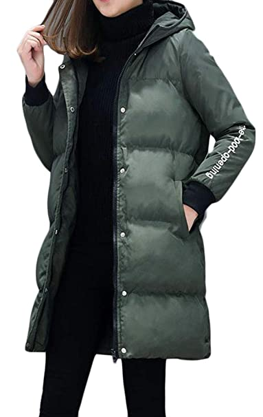 bc12fc1aa7bda Amazon.com  Cromoncent Womens Plus Size Winter Thicken Hooded Letter Print  Parka Coat Jacket  Clothing