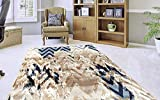 Adgo Fiesta Luxury Collection Modern Contemporary Chevron Design Vivid Color Jute Backed Area Rugs High Pile Well Spaced Incredibly Soft and Fluffy Indoor Floor Rug, Beige Navy, 3' x 5'