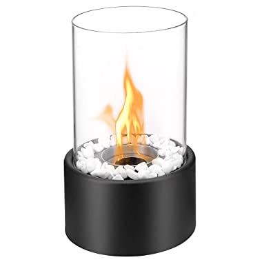 Regal Flame Black Eden Ventless Indoor Outdoor Fire Pit Tabletop Portable Fire Bowl Pot Bio Ethanol Fireplace in Black - Realistic Clean Burning Like Gel Fireplaces, or Propane Firepits