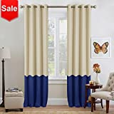 NICETOWN Colorblock Patio Blackout Curtains – Mix and Match Thermal Insulated Grommet Top Blackout Window Treatment Drapes (2 Panels,52 by 95″,Beige & Blue)