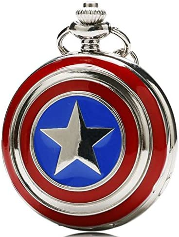 Captain America 캡틴 아메리카 방패 디자인 시계 키체인 시계 목걸이 시계 LOGO 없음 [병행 수입 / Captain America Captain America Shield Design Pocket Watch Keychain Watch Pendant Watch LOGO No [Parallel Import