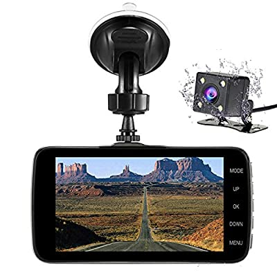 "Nesolo Full HD 1080P Car Dash Cam 170° Wide Angle 4"" LCD Dashboard Camera DVR Video Recorder Dual Lens Front+Rear with HDR Night Vision,Loop Recording,Parking Mode,G-Sensor from Hqb-ly"