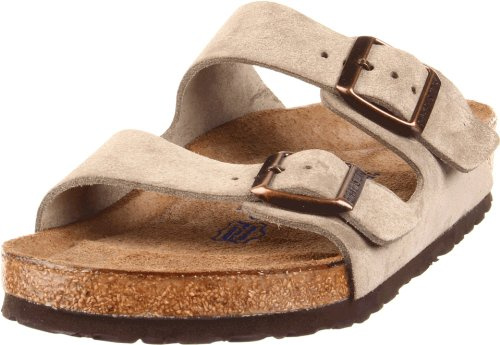 Birkenstock Unisex Arizona Taupe Suede Soft Foot Bed Sandals - 40 M EU/9-9.5 B(M) US Women/7-7.5 B(M) US Men Adjustable Strap Adult Sandals