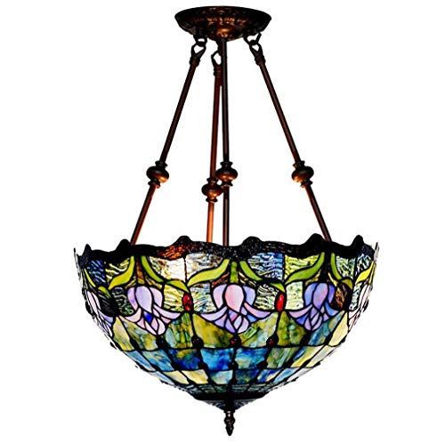 16 Inch Tiffany Style Pendant Light, Stained Glass Tulip Pattern Pendant Lamp Shade Home Decoration 2-Light Inverted Ceiling Pendant Fixture,110-240V,A ()