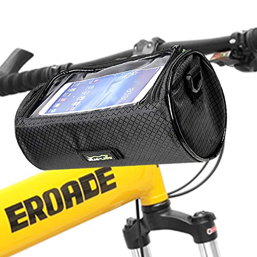 Bike Handlebar Bag Waterproof Front Bag Bicycle Storage Bag with Removable Shoulder Strap and 6 inch Transparent Pouch ()