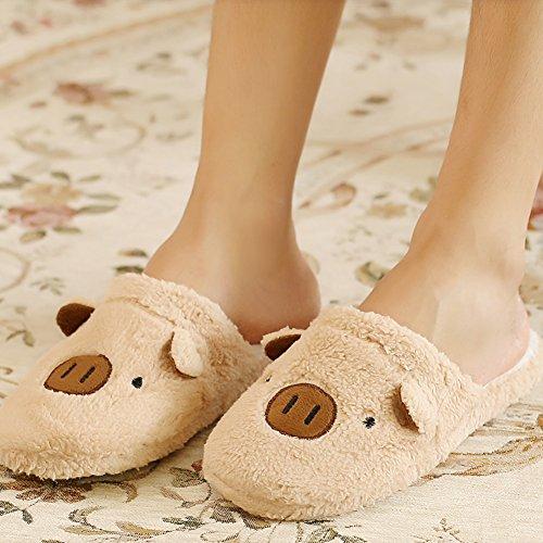 Indoor Girl Shoes Slippers Gift Lovely Anti Pig Women Coffee Warm Winter Gracefulvara slip Cute TfqEW