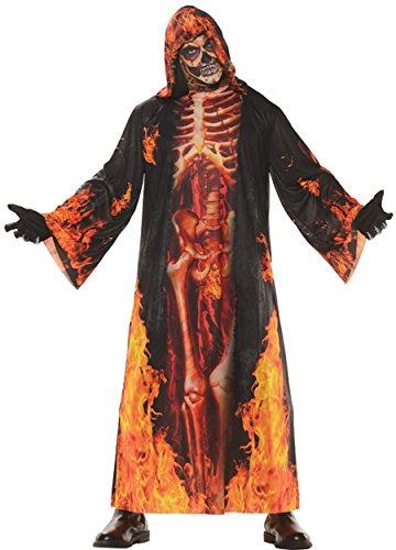 Halloween Costumes Underworld (UHC Men's Underworld Hell Robe Horror Skeleton Adult Outfit Halloween Costume, OS)