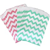 Outside the Box Papers Pink and Mint Chevron Treat Sacks 5.5 x 7.5 48 Pack Mint Green, Pink, White