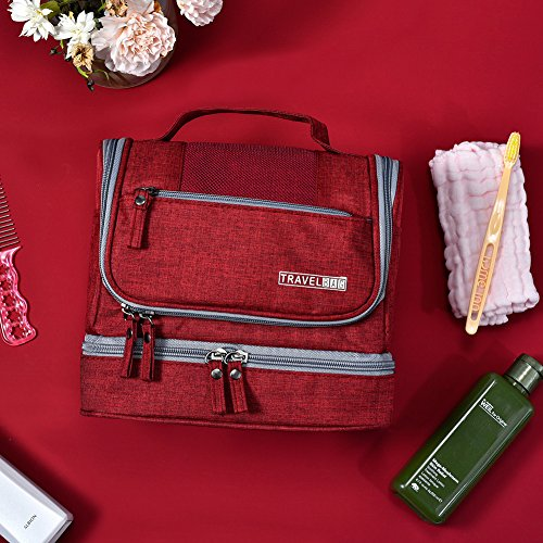 Toiletry Bag Hanging Travel Toiletry Organizer Kit with Hook and Handle Waterproof Cosmetic Bag Dop Kit for Men or Women (Wine Red) by NICEPACK (Image #6)