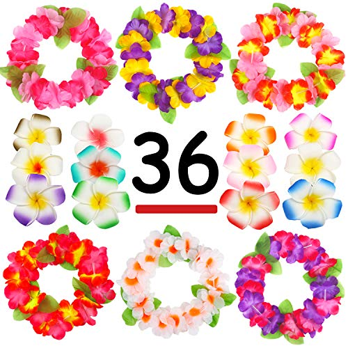 Hawaiian Luau, 36 Pack Flower Headband Lei and Hair Clips Set, Headpiece Hairpins Party Favors For  Summer Beach Vacation, Tropical Party Decorations Supplies, Birthday, Wedding And Costume Events -