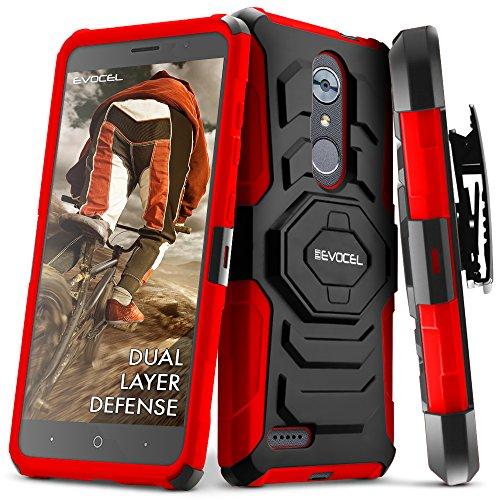 Zte Max Xl Case  Evocel  New Generation  Rugged Holster Dual Layer Case  Kickstand  Belt Swivel Clip  For Zte Max Xl  N9560    Zte Blade Max 3  Z986   Red  Evo Zten986 Xx03
