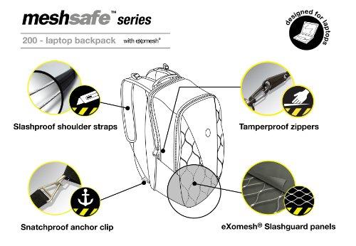 Pacsafe MeshSafe B 200 - Mochila con compartimento para portátiles negro negro negro
