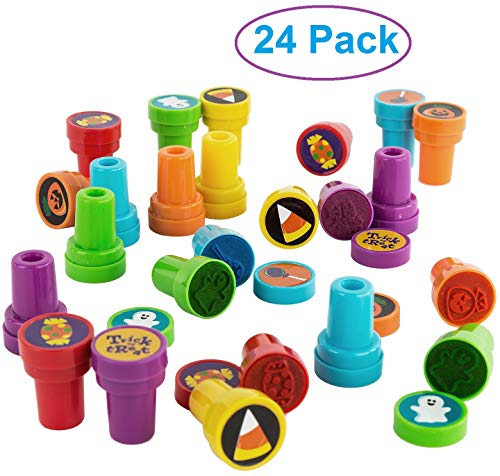 Fun Toddler Activities For Halloween (Trick or Treat Halloween Self Inking Stamps for Kids, Bulk Pack of 24 Stampers, Halloween Party Favors and Supplies, Classroom Treats for Students, Fun Crafts Activity for)