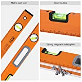 Magnetic Box Level, Tacklife MT-L02 24-Inch Level Aluminum Alloy Spirit Level Torpedo Level Magnetic Plumb/Level/45-Degree Measuring Shock Resistant Magnetic Level with Imperial & Metric Scales