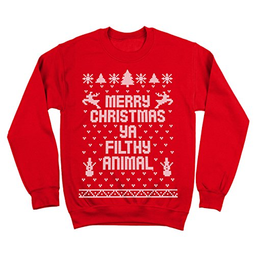 Merry Christmas Ya Filthy Animal Ugly Christmas Sweater Contest Party Xmas Mens Sweatshirt Small Red