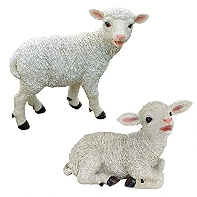 Design Toscano Yorkshire Lamb Garden Farm Animal Statues, 15 Inch, Set of Two Standing and Sitting, Polyresin, Full Color : Outdoor Statues : Garden & Outdoor