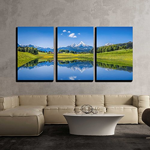 3 Piece Canvas Wall Art - Panoramic View of Idyllic Summer