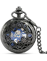 Steampunk Vintage Pocket Watch Mechanical Skeleton with Chain & Roman Numerals Analog for Special Days Gift
