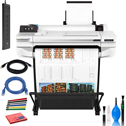 HP DesignJet T530 24' Large Format Printer - Color Ink Jet - (5ZY60A#B1K) with Power Strip + Printer Cable + Cat5 Cable + Wire Ties and More - Advanced Bundle